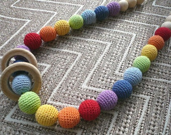 Rainbow necklace/Teething Necklace/Breastfeeding Necklace /Wooden necklace/Eco necklace/Teething Necklace for mom