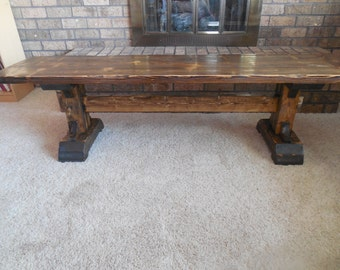 Rustic and Distressed Pedestal Bench