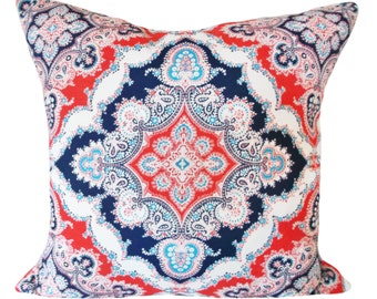 Red White Blue Medallion Outdoor Throw Pillow Cover - Kaufmann - Both Sides - 12x20, 14x24, 16x16, 18x18, 20x20, 22x22