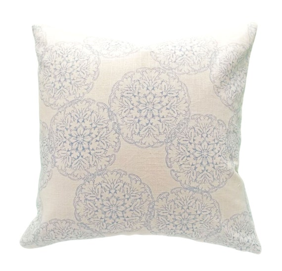Light Blue Patterned Throw Pillow : John Robshaw for Duralee Danda Light Blue Decorative Pillow