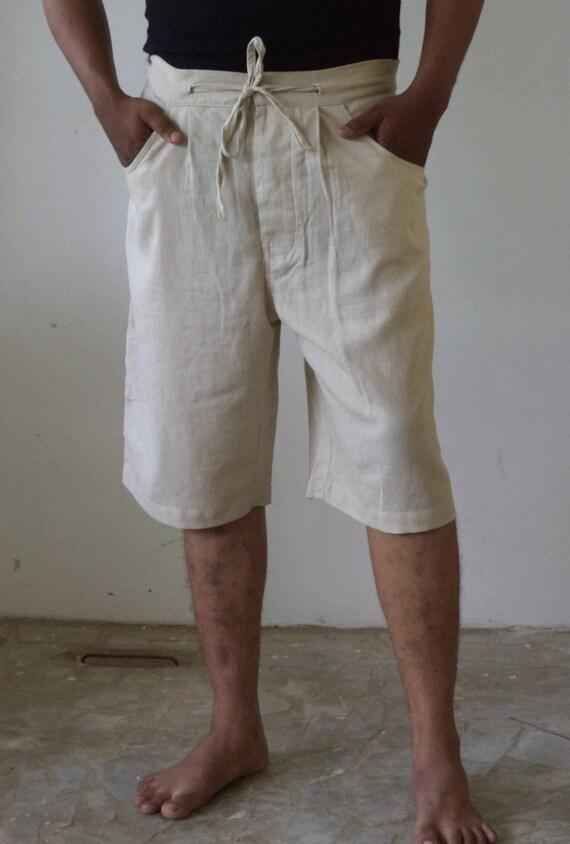 Mens Linen Beach Boho Knee Length Shorts Plus size.