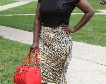 Leopard Cheetah Fringe Pencil Skirt
