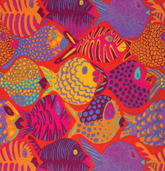 SHOAL TOMATO RED bm051 Fish by Brandon Mably for Kaffe Fassett Collective Sold in 1/2 yd increments