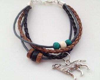 Wolf bracelet - Bohemian Bracelet - Native American - Tribal Bracelet - Boho Bracelet - surfer bracelet