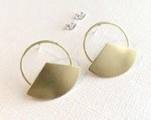 Gold Geometric Earrings ~ Brass Circle Fan Stud ~ Edgy Minimal Post Earrings
