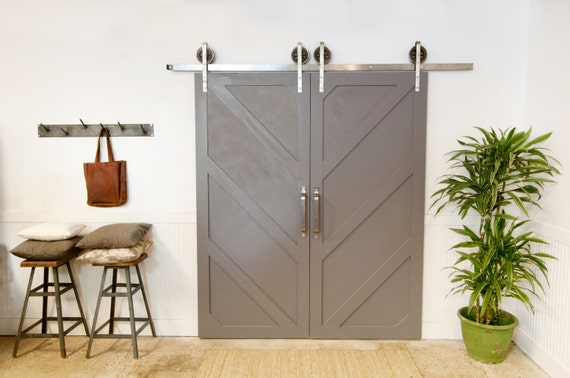 Double door rustic industrial european sliding steel barn wood for Metal barn over basement