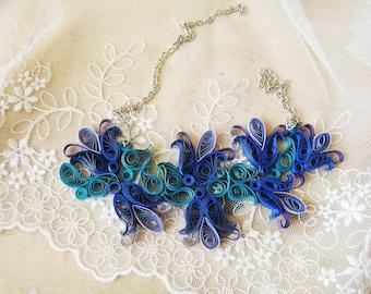 1st wedding anniversary gift, Paper anniversary gift, Blue necklace, First anniversary gift for her, bluebells necklace