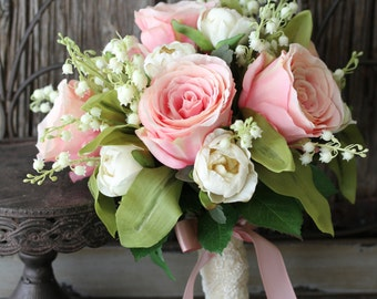 Blush Pink Rose & Lilly of the Valley Wedding Bouquet