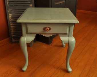 Blue Green Side Table , Blue Green End Table , Blue Green Nightstand , Painted Side Table , Up-cycled Table