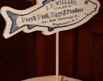 Fish art with vintage flair