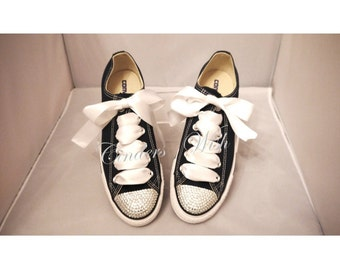 Bling toe converse / sparkle converse / customised diamante converse / diamante converse /