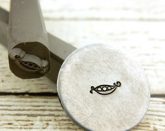 PEA POD Metal Stamp, 5 mm, Peapod Plant Design, Rated for Stainless Steel, Stamping Tool for DIY, Great for Nature Lover or Gardener Jewelry