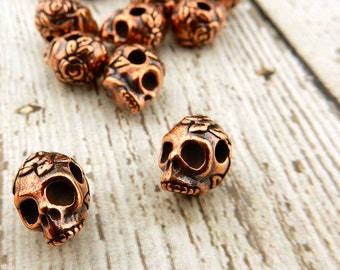 Sugar Skull Beads TierraCast Antique Copper 10mm Big Hole Beads, Large Hole, Qty 4, Rose Skulls Viva Mexicana, Day of the Dead Jewelry