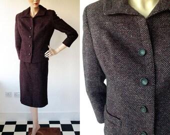1960s 'Jonelle' Heather Tweed Suit Jacket & Pencil Skirt Size UK 8