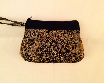 Gift for Her Made to Order: Black & Gold Wet/Dry Bag Cloth Pad or Wet Bikini Bag