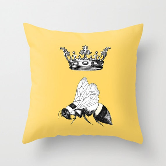 Queen Throw Pillow : Queen Bee Throw Pillow Sunny Vibrant yellow and black throw