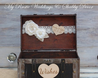 Large Shabby Chic and Rustic Card Box / Rustic Wedding Decor /  Wedding Card Box / Rustic Wedding Card Box/ Shabby Chic Card Box/ Card Chest