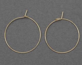 22mm Ring Hook Earring . Earring Component . 16K Polished Gold Plated over Brass / 20 Pcs - ...