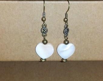MOP Heart Bead Dangle Earring with Antique Brass Findings