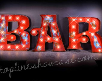 "30""H BAR Marquee Signs, Marquee letters, Marquee Lights, Vintage Marquee Sign, Marquee Letter Fixture: Marquee Lighted BAR Sign"