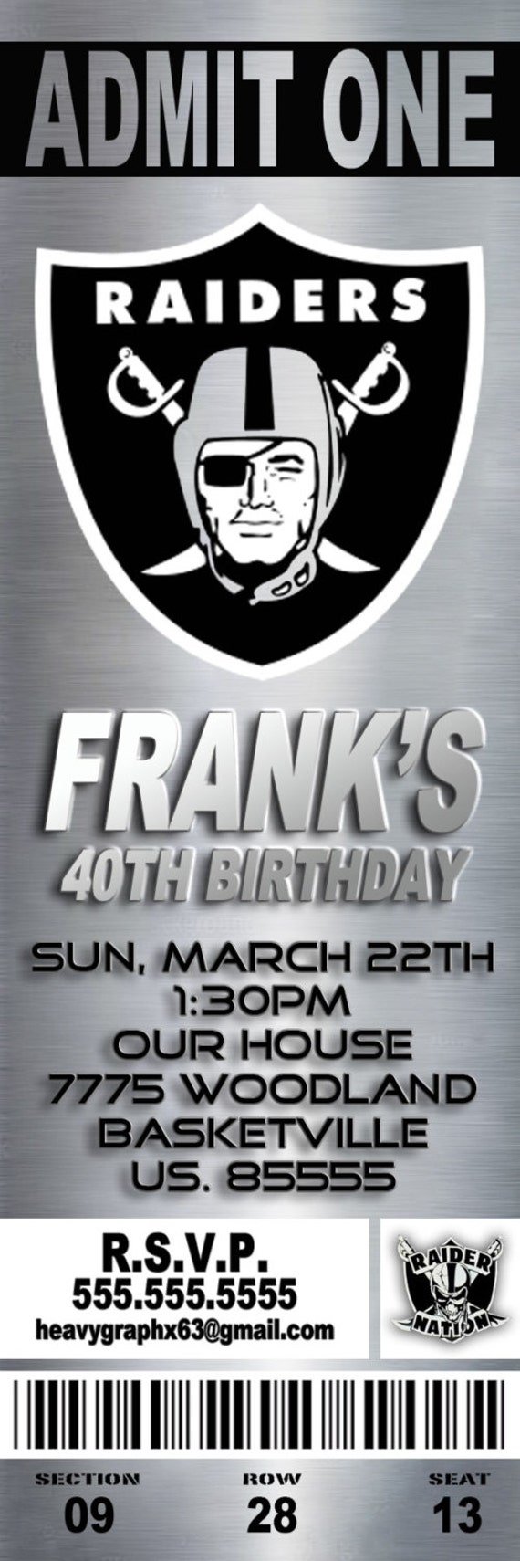 Oakland Raiders Birthday Invitations Pictures to Pin on Pinterest