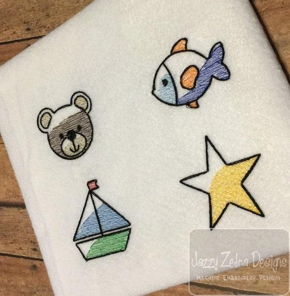 Set of 4 Boy Mini Icon Sketch Embroidery Design Add Ons - boat Sketch Embroidery Design - fish Sketch Embroidery Design - bear Sketch