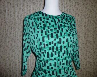 Vintage 1990s Green Black Dress Frock / Peplum waist 12 M L Maree
