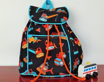 Toddler Backpack in Trucks and Orange.