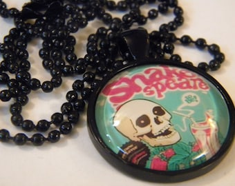 Dead Poet skull glass cameo necklace