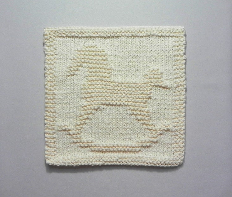ROCKING HORSE Knit Dishcloth. Hand Knitted by AuntSusansCloset