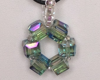 Crystal circle pendant necklace.