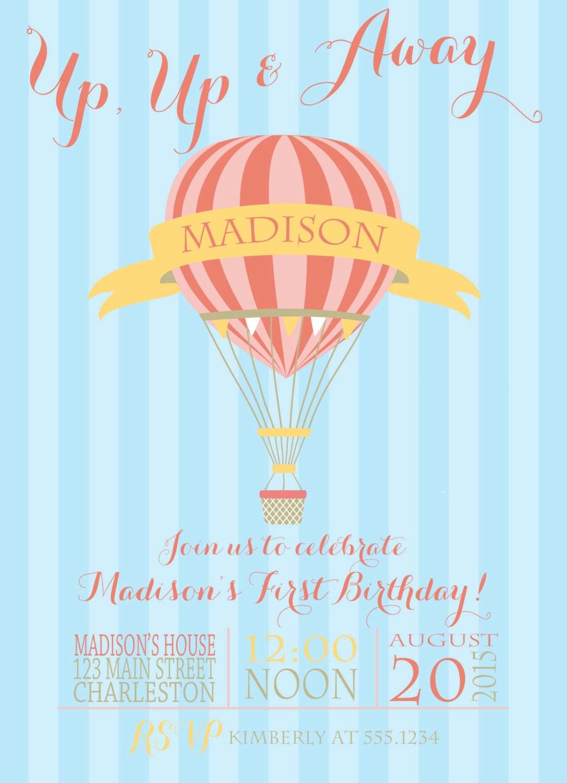 Hot Air Balloon Birthday Invitation, Hot Air Balloon Party ...
