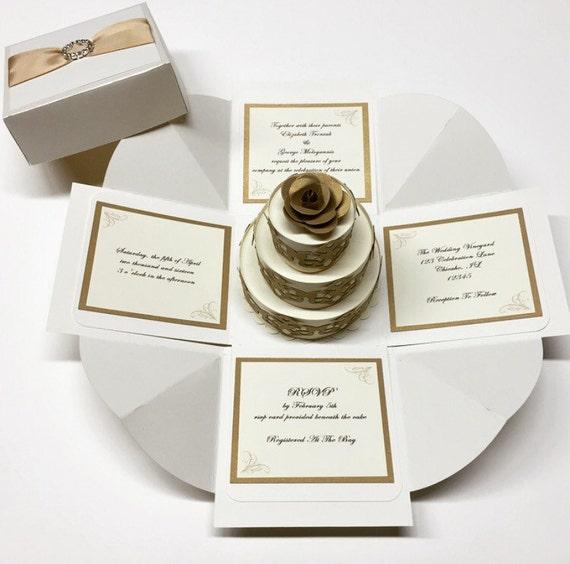 Exploding Box Wedding Invitation Exploding Boxes Exploding Box Cards Ivory Gold 3D Cake Handmade By Cut N Create. These handmade exploding box wedding invitatio