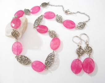 3 pcs Pink Agate Jewelry Set Hot Pink Statement Necklace Pink Gemstone Earrings Pink and Silver Elegant Formal Bridal Jewelry One of a Kind