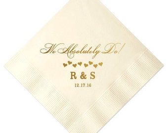 100 Personalized Napkins Personalized Napkins Bridal Shower  Wedding Napkins Custom Monogram i do I DO we do