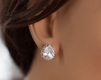 Teardrop stud earrings cubic zirconia earrings cubic zirconia teardrop stud earrings silver teardrop earrings crystal teardrop stud earrings