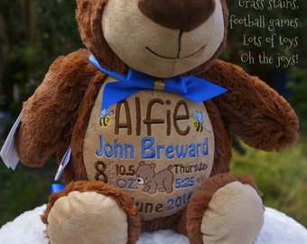 Personalised BEAR Cubbie Stuffies Gift, Christening, Birthday, Wedding, Any Occasion, Any message