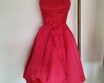Vintage 1950s red silk prom dress by cotillion formals