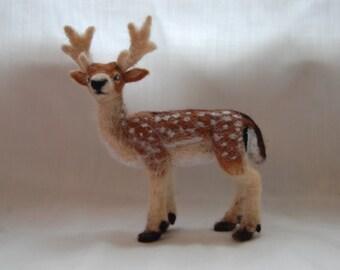 Fallow deer - needle felted sculpture - handmade wool animal sculpture