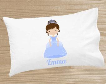 Personalized Kids' Pillowcase - Princess Pillowcase for Girls - Blue Princess Pillow Case - Custom Princess Pillow Slip