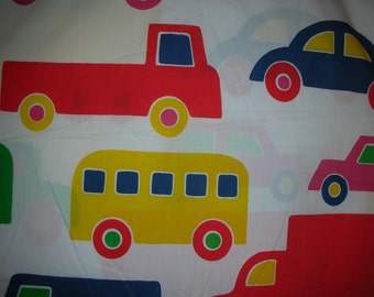 "Marimekko Bo Boo design Bright Large Cars Trucks Vans Bus Fabric 2 pieces total 4 yards & 56"" plus white cotton fabric for lining"