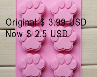 6-cavity Bear Footprint Cake Mold Mould Silicone Mold Biscuit Mold Chocolate Mold Soap Mold