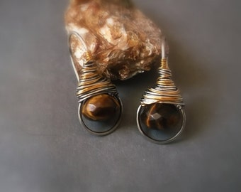 Wire Wrapped Jewelry Handmade - Mixed Metal earrings - silver and Gold Filed earrings with Tigers Eye