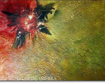 Acrylic Painting Abstract Canvas Art CONTEMPORARY ART ORIGINAL Textured Abstract Floral Painting Red Yellow Green 16x12x1,6 (40cmx30cmx4cm)