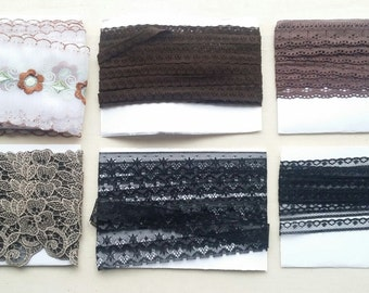Black, brown, embroided edging, trimming decorative lace remnants. Many colours available.