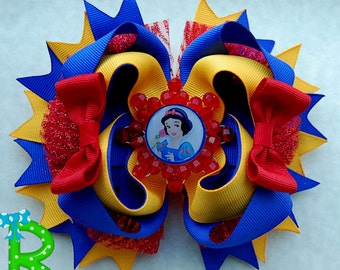 Snow White Hair Bow , Boutique layered bow , Disney Ott Bow for girls, Princess Stacked Bow