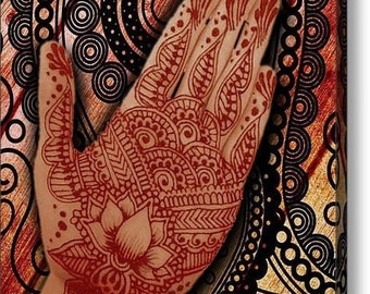 Henna Indian Beauty 2 on Stretched Canvas