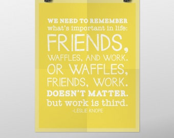 INSTANT DOWNLOAD Parks and Recreation Leslie Knope Waffles Quote Typography Poster