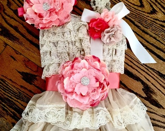 Vintage Inspired Ivory Lace Petti Dress & Peach Flower Sash Set, Photo Prop, Adorable Birthday Outfit, Easter Outfit!!!