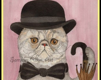 A distinguished gentleman cat Oiva, with bowler hat, A whimsical kitty card or print portrait -  Watercolor, Item #0305a